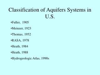 Classification of Aquifers Systems in U.S.