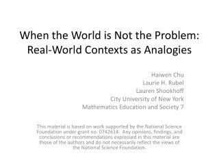 When the World is Not the Problem: Real-World Contexts as Analogies
