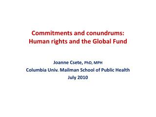 Commitments and conundrums: Human rights and the Global Fund