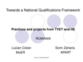 Towards a National Qualifications Framework