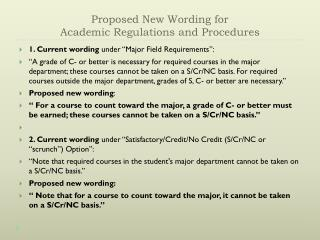 Proposed New Wording for  Academic Regulations and Procedures