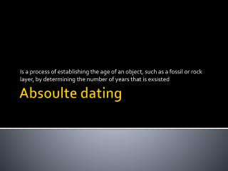 Absoulte  dating