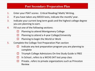 Post Secondary Preparation Plan