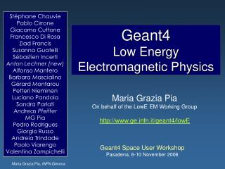 Geant4  Low Energy Electromagnetic Physics
