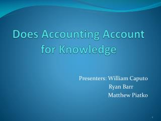Does Accounting Account for Knowledge