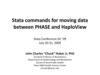 Exporting and importing Stata genotype data to and from PHASE and HaploView  UK Stata Users Group Meeting 2009 September