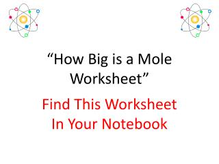 """How Big is a Mole Worksheet"""