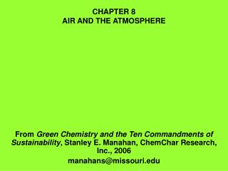 CHAPTER 8 AIR AND THE ATMOSPHERE