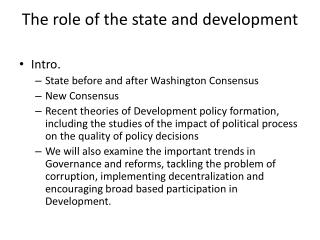 The role of the state and development