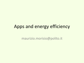 Apps and energy efficiency