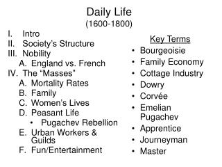 Daily Life  (1600-1800)