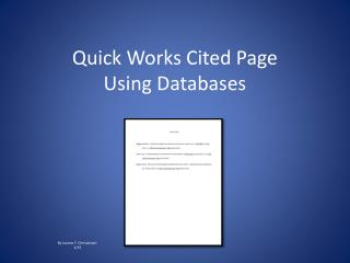 Quick Works Cited Page  Using Databases