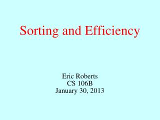 Sorting and Efficiency