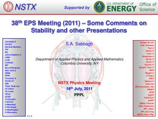 38 th  EPS Meeting (2011) – Some Comments on Stability and other Presentations