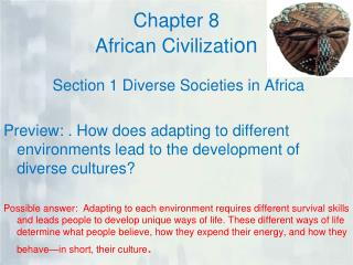 Chapter 8  African Civilizati on