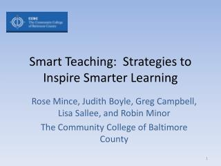 Smart Teaching:  Strategies to Inspire Smarter Learning