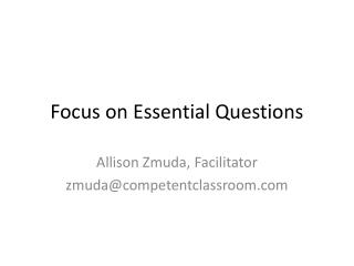 Focus on Essential Questions
