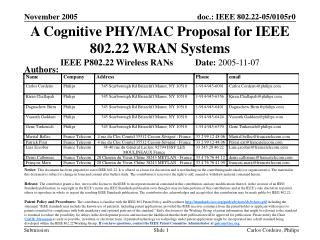 A Cognitive PHY/MAC Proposal for IEEE 802.22 WRAN Systems