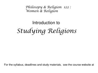 Studying Religions