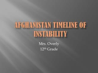 Afghanistan Timeline of Instability