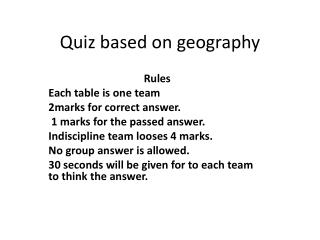 Quiz based on geography