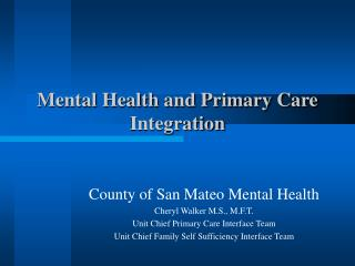 Mental Health and Primary Care Integration