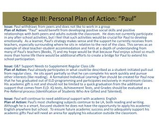 "Stage III: Personal Plan of Action: ""Paul"""