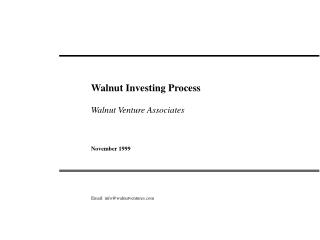 Walnut Venture Associates:  Overview