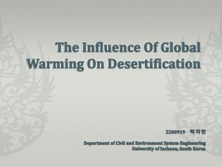 The Influence Of Global Warming On Desertification