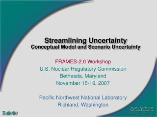 Streamlining Uncertainty Conceptual Model and Scenario Uncertainty