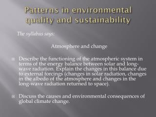 Patterns in environmental quality and sustainability