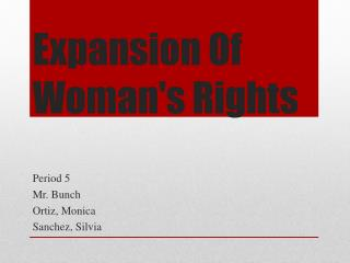 Expansion Of Woman's Rights