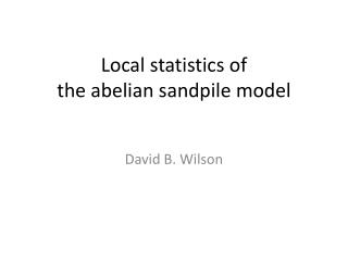 Local statistics of the  abelian sandpile  model