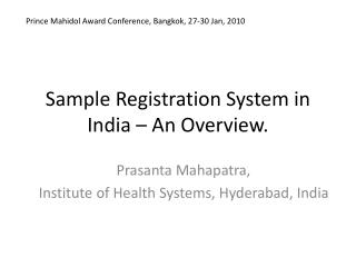 Sample Registration System in India – An Overview.