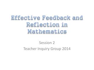 Effective Feedback and Reflection in Mathematics
