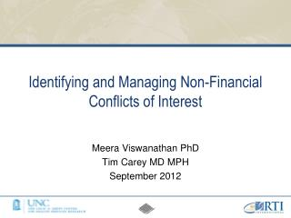 Identifying and Managing Non-Financial Conflicts of Interest