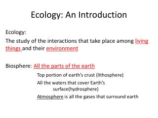Ecology: An Introduction