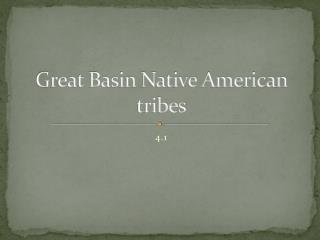 Great Basin Native American tribes