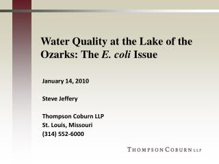 Water Quality at the Lake of the Ozarks: The  E. coli  Issue
