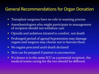 General Recommendations for Organ Donation