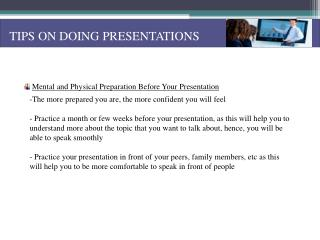 TIPS ON DOING PRESENTATIONS