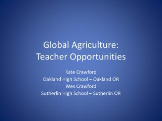 Global Agriculture: Teacher Opportunities