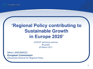 'Regional Policy contributing to Sustainable Growth in Europe 2020'