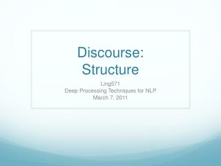 Discourse: Structure