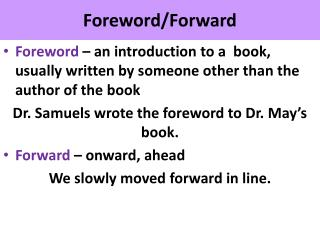 Foreword/Forward