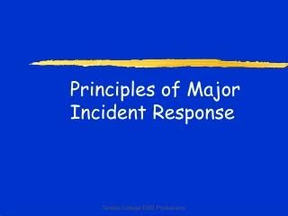 Principles of Major Incident Response