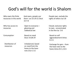 God's will for the world is Shalom