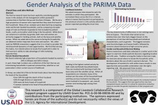 Gender Analysis of the PARIMA Data