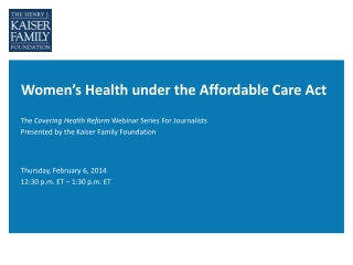 Women's Health under the Affordable Care Act