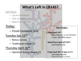 What's Left in LB145? Last Class: Course Evaluations Take up Exam Begin Evolution Unit Today: